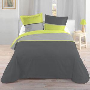 housse de couette vert anis achat vente housse de. Black Bedroom Furniture Sets. Home Design Ideas