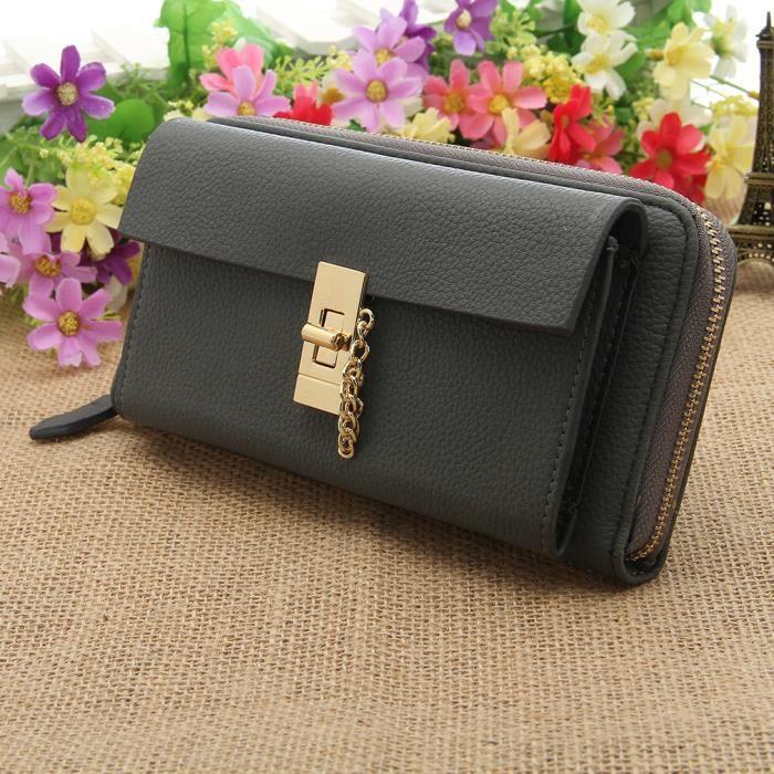 Mode portefeuille femme porte monnaie porte carte sac main pochette gris en pu zipp l gant - Porte monnaie porte carte femme ...