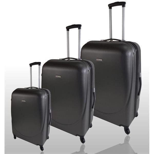 lot de 3 valises trolley coque rigide abs 4 roues 360 gris fonce achat vente set de. Black Bedroom Furniture Sets. Home Design Ideas