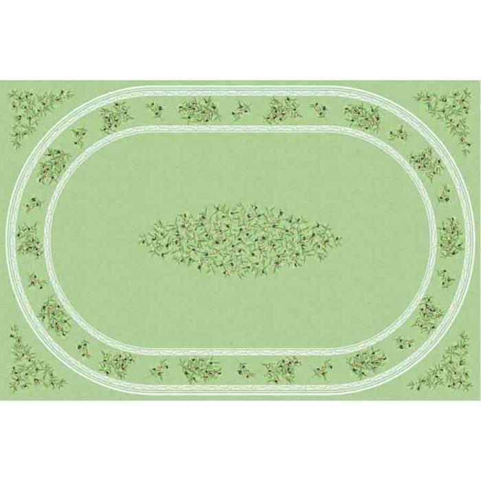 nappe coton enduit clos des oliviers vert 2m50 x 1m55 achat vente nappe de table soldes. Black Bedroom Furniture Sets. Home Design Ideas