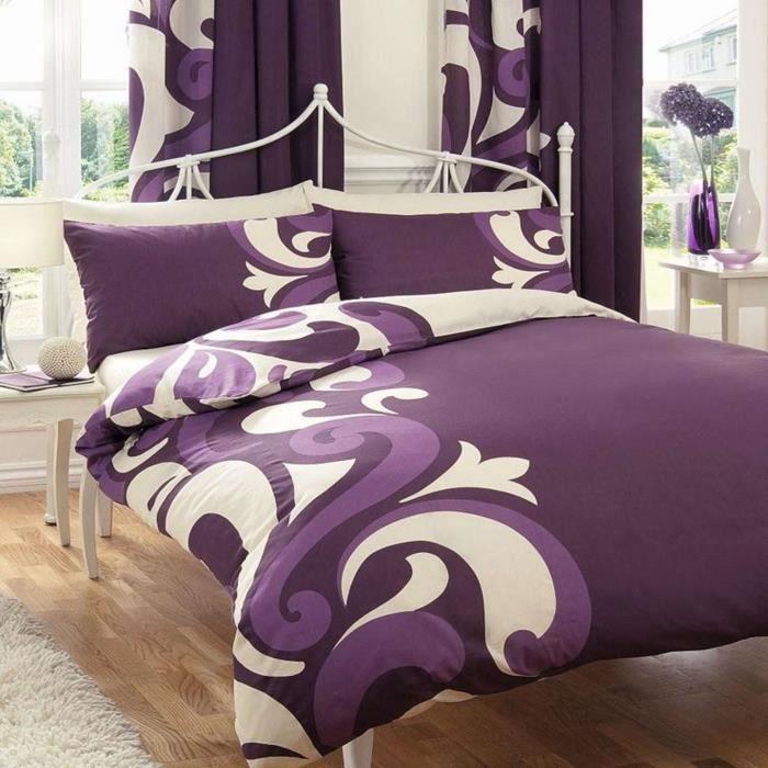 Parure de lit prune achat vente parure de lit prune pas cher les soldes sur cdiscount for Parure lit double