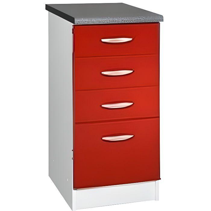 meuble cuisine bas 40 cm 4 tiroirs oxane rouge achat vente elements bas meuble cuisine bas. Black Bedroom Furniture Sets. Home Design Ideas