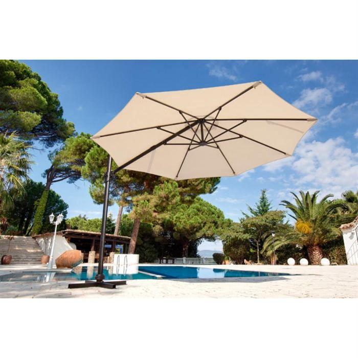Parasol rond rotation 360 diam 3 5m sable achat vente paras - Parasol chauffant brico depot ...