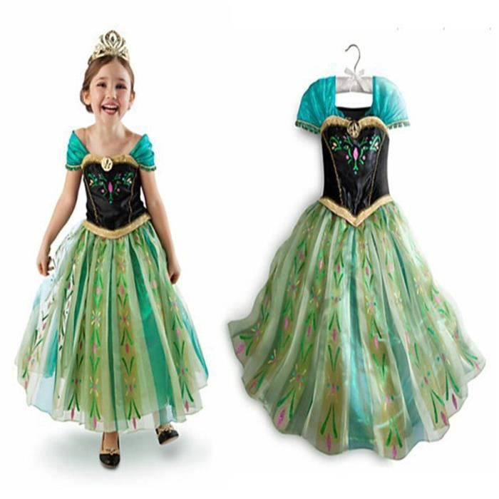 Reine des neiges jolie robe enfant anna v tement cosplay - Robe de anna reine des neiges ...