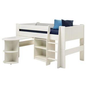 lit mi hauteur en mdf avec bureau et tag res achat vente lits superpos s lit en mdf. Black Bedroom Furniture Sets. Home Design Ideas