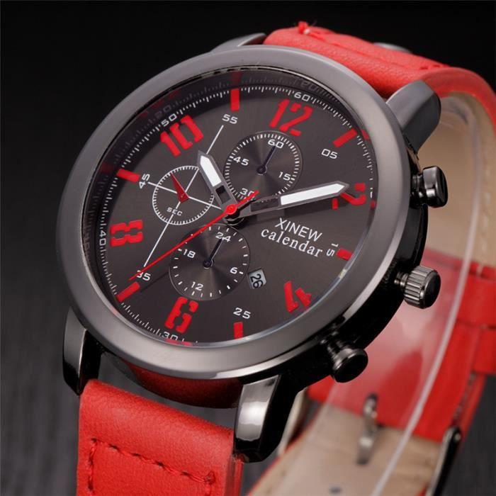 montres pour homme xinew marque montre tanche quartz rouge achat vente montre montres pour. Black Bedroom Furniture Sets. Home Design Ideas