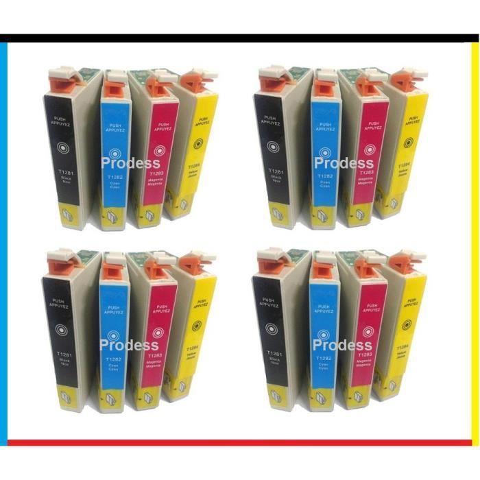 16 cartouches compatibles epson t 1285 pour les imprimantes epson stylus office sx430w sx435w. Black Bedroom Furniture Sets. Home Design Ideas