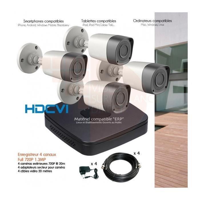 syst me de vid o surveillance hdcvi avec 4 cam ras ext rieures hdcvi 720p disque dur de 500 go. Black Bedroom Furniture Sets. Home Design Ideas
