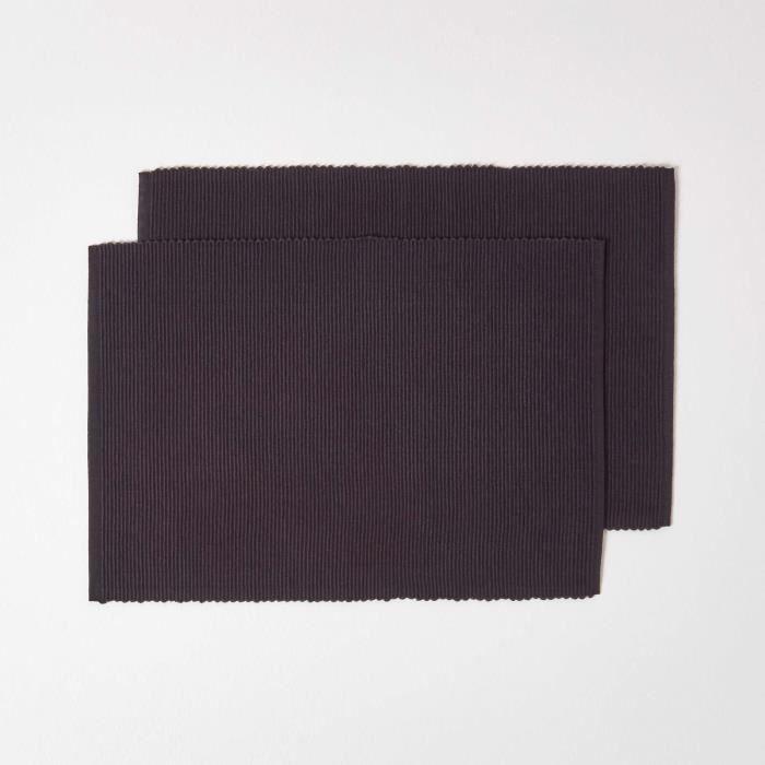 Lot de 2 sets de table 100 coton noir achat vente set - Set de table coton ...