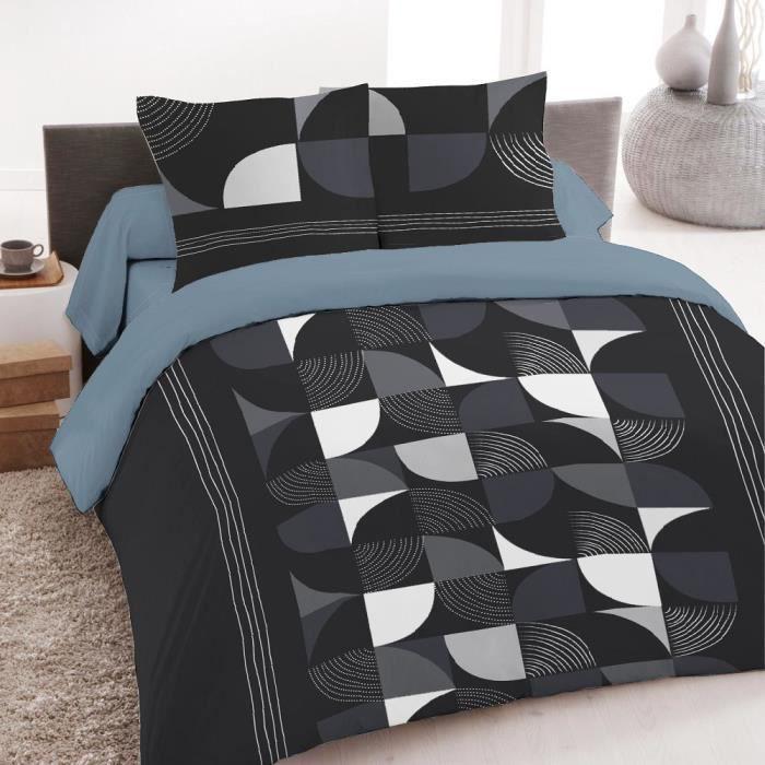 parure de lit 4 pi ces imprim techno 100 coton 57 fils achat vente parure de drap cdiscount. Black Bedroom Furniture Sets. Home Design Ideas