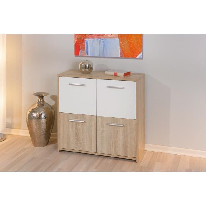 meuble de rangement contemporain 4 portes ch ne sonoma blanc agadi achat vente petit meuble. Black Bedroom Furniture Sets. Home Design Ideas