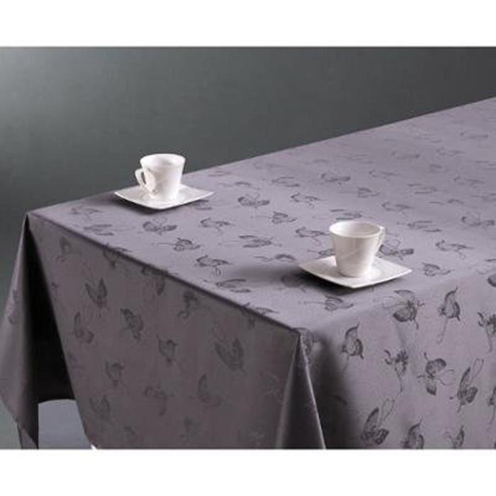 nappe anti taches grise motifs papillon 140 x 240 cm achat vente nappe de table soldes. Black Bedroom Furniture Sets. Home Design Ideas