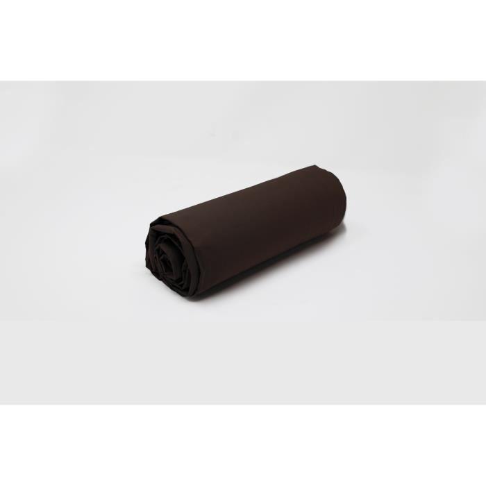 drap housse uni chocolat percale de coton salom prestige. Black Bedroom Furniture Sets. Home Design Ideas