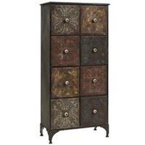 Meuble de rangement 8 tiroirs en m tal vieilli achat vente petit meuble rangement meuble de for Petit meuble metal