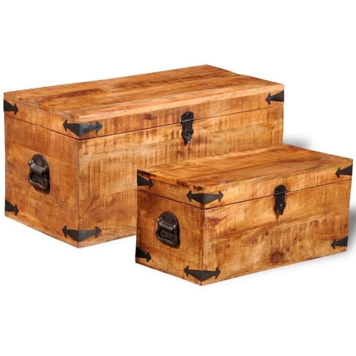 coffres de rangement jeu de 2 coffres de stockage en bois brut de manguier achat vente. Black Bedroom Furniture Sets. Home Design Ideas