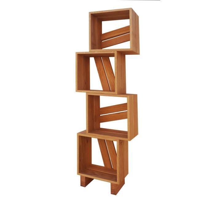 Meuble biblioth que modulable 4 casiers bois et couleur for Meuble bois tiroirs casiers