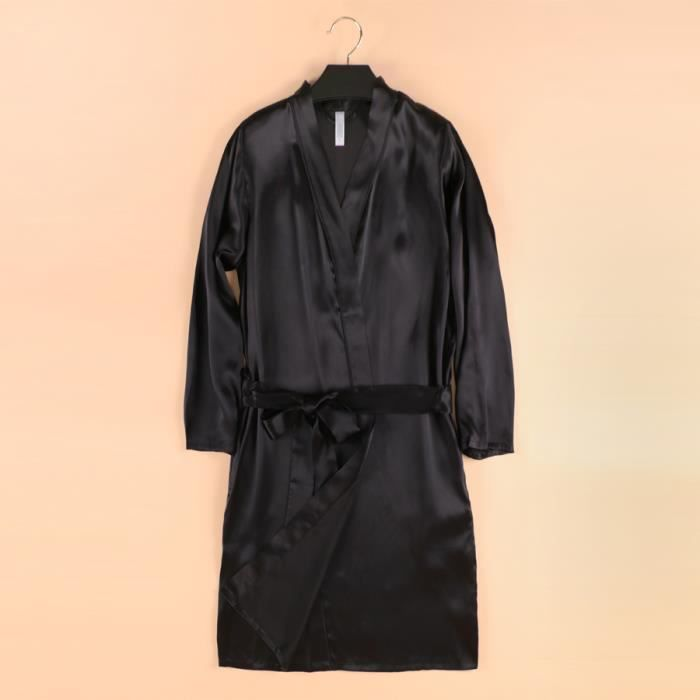 robe de chambre soie femme noire achat vente robe de chambre cdiscount. Black Bedroom Furniture Sets. Home Design Ideas