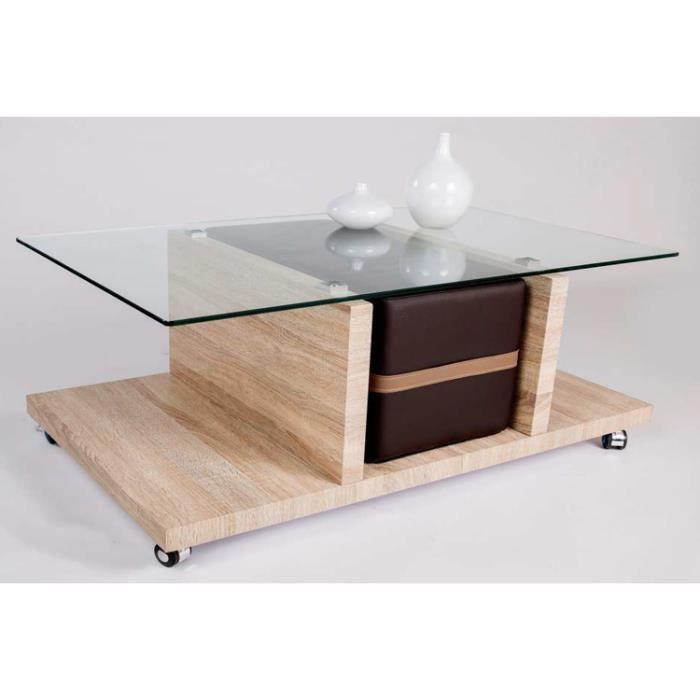 Table basse adro sonoma ch ne clair avec pouf e achat - Table basse chene sonoma ...