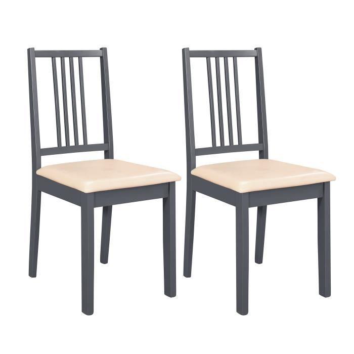 Texas lot de 2 chaises de salle manger en sim achat vente chaise gri - Cdiscount chaises salle a manger ...
