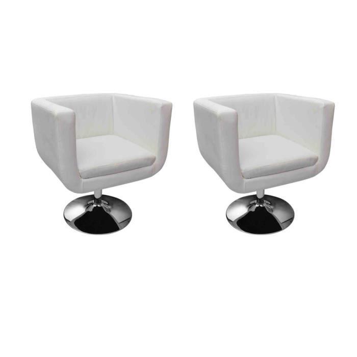 fauteuil design club blanc x2 achat vente fauteuil simili acier chrom cuir synth tique. Black Bedroom Furniture Sets. Home Design Ideas