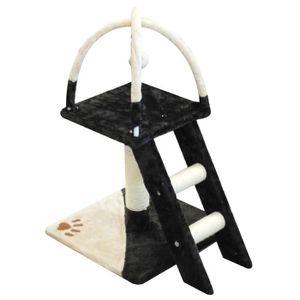 Arbre ? chat avec escalier 40x40xH70 cm - Noir et blanc