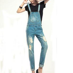JEANS Jeans femme bretelle troué 1122# ,été