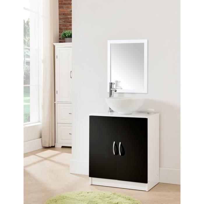 Meuble sous vier 60 cm blanc et noir achat vente - Meuble salle de bain 40 cm ...