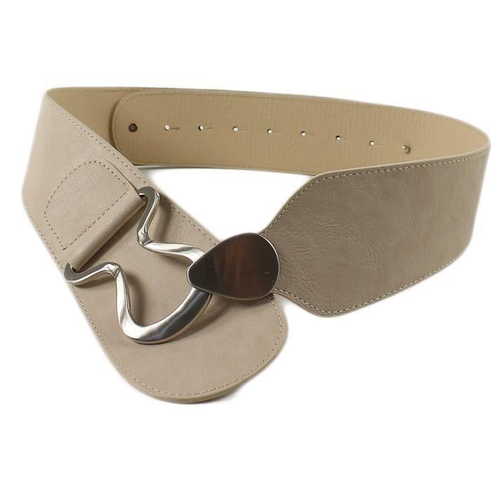 ceinture femme beige et m tal argent taille 90 cm beige achat vente ceinture et boucle. Black Bedroom Furniture Sets. Home Design Ideas