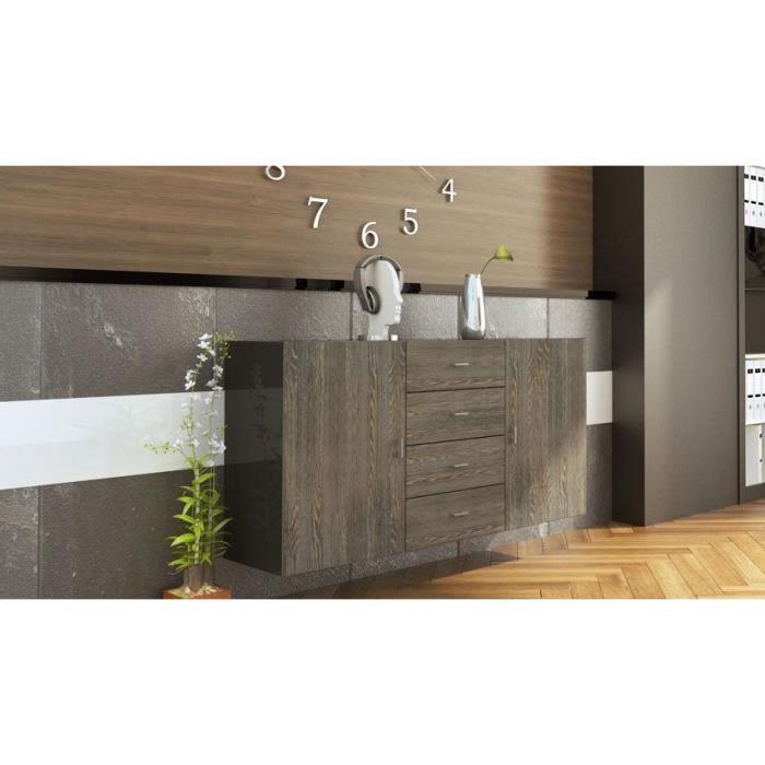 buffet enfilade suspendu laqu noir et bois weng achat vente buffet bahut buffet enfilade. Black Bedroom Furniture Sets. Home Design Ideas