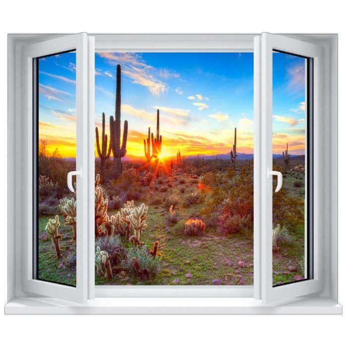 Sticker trompe l 39 oeil fen tre coucher de soleil cactus for Fenetre soleil