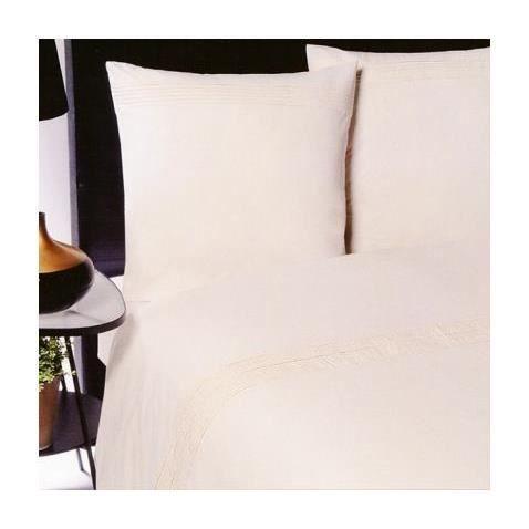 housse de couette percale pliss e 220x240 2 taies 65x65 ecru ecru achat vente housse de. Black Bedroom Furniture Sets. Home Design Ideas