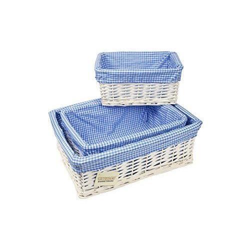 Panier Osier Rangement Bleu : Woodluv lot de corbeilles rangement en osier avec