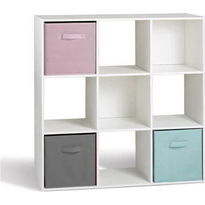 Compo cube 9 cases blanc 91 x 91cm achat vente petit meuble rangement com - Cube de rangement blanc laque ...