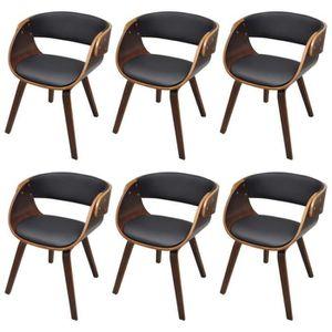 Lot de 6 chaises de salle a manger brun achat vente for Lot de 6 chaises de salle a manger