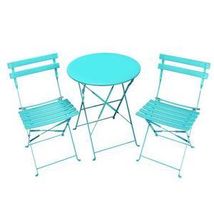 Table de jardin pliante 2 personnes bleu for Table pliante 2 personnes