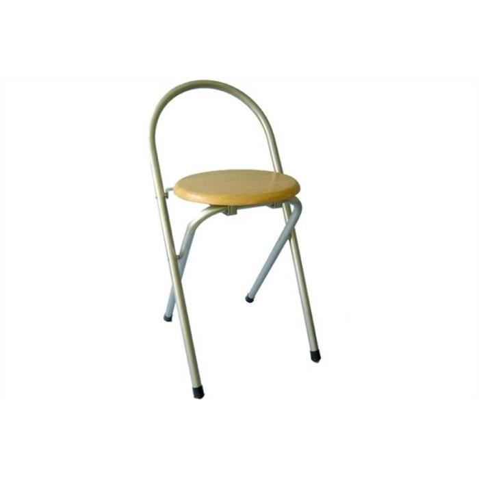 Chaise tabouret pliante avec si ge en bois et pieds tubulaires en m tal pri - Chaise pliante en bois pas cher ...