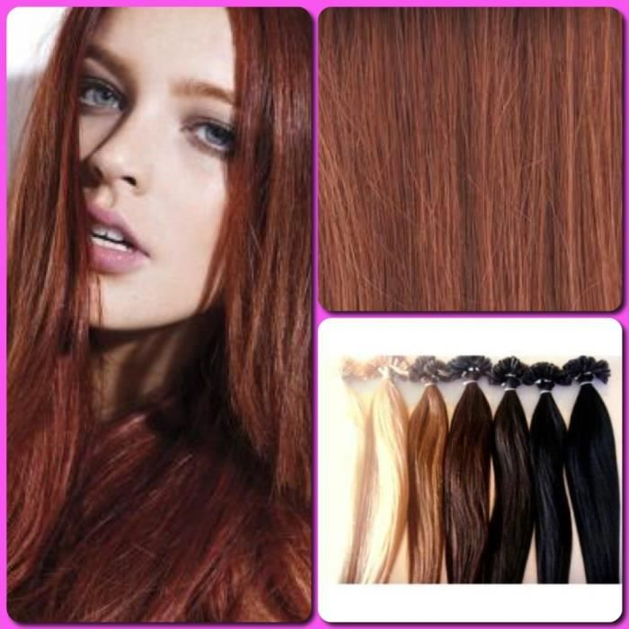 extensions de cheveux naturels pose a chaud cuivre achat vente perruque postiche. Black Bedroom Furniture Sets. Home Design Ideas