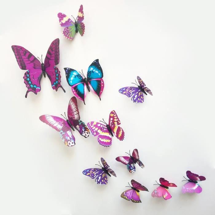 12 pi ces 3d papillon d coration conception stickrs for Papillon decoration