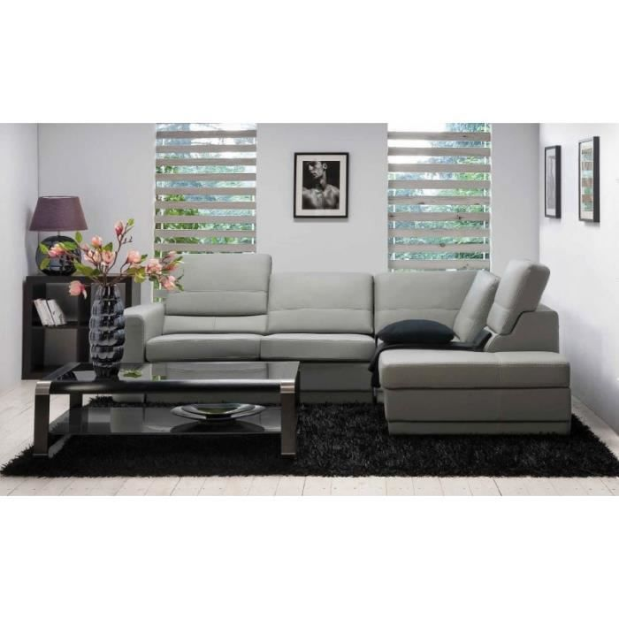 canap d 39 angle cuir gris bridget gris achat vente. Black Bedroom Furniture Sets. Home Design Ideas