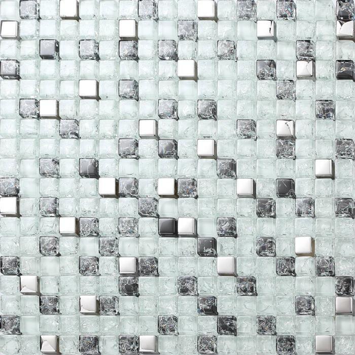 Carrelage mosa que en verre argent blanc et noir effet for Carrelage mosaique blanc