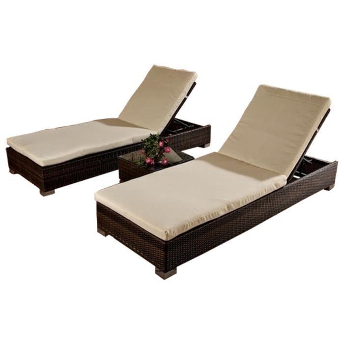 Lot de 2 relax canap s en rotin de jardin avec table coloris brun dim h26 x l200 x p72 cm for Housse de relax de jardin