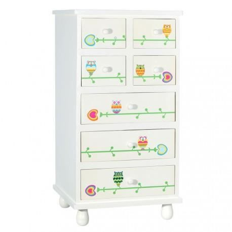 chiffonnier 7 tiroirs blanc sweet owls by auxportesdeladeco achat vente chiffonnier. Black Bedroom Furniture Sets. Home Design Ideas