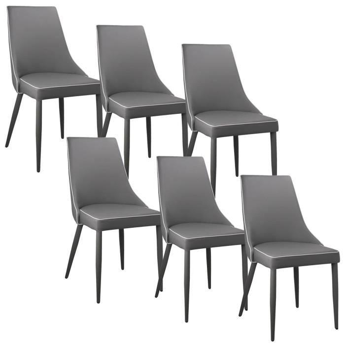 lot de 6 chaises gris et blanc avev achat vente chaise gris cadeaux de no l cdiscount. Black Bedroom Furniture Sets. Home Design Ideas