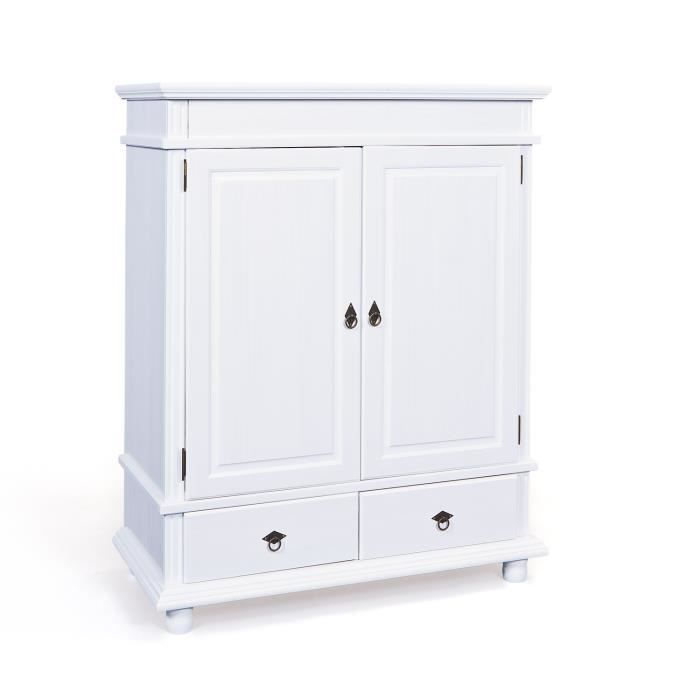 Commode pin massif blanc 2 portes 2 tiroirs blanc - Armoire basse chambre ...