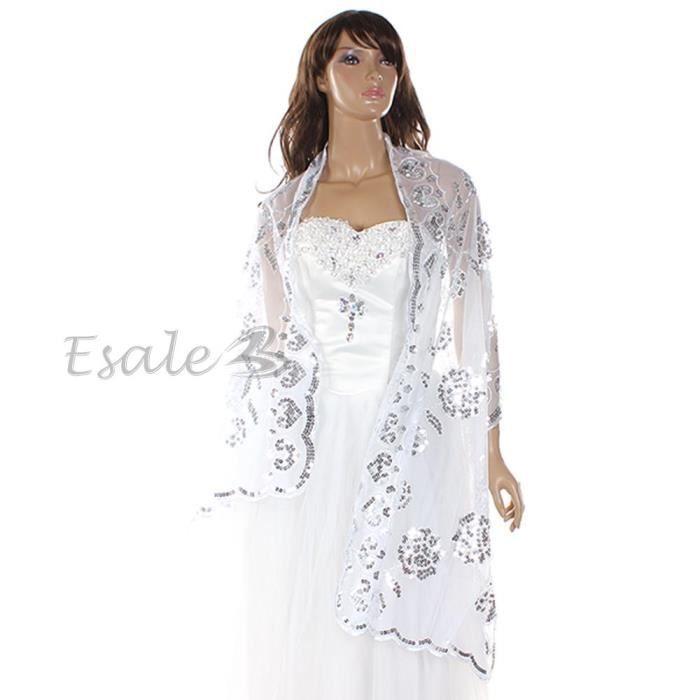 chale bol ro echarpe dentelle paillette blanc pour robe mari e mariage blanc achat vente. Black Bedroom Furniture Sets. Home Design Ideas