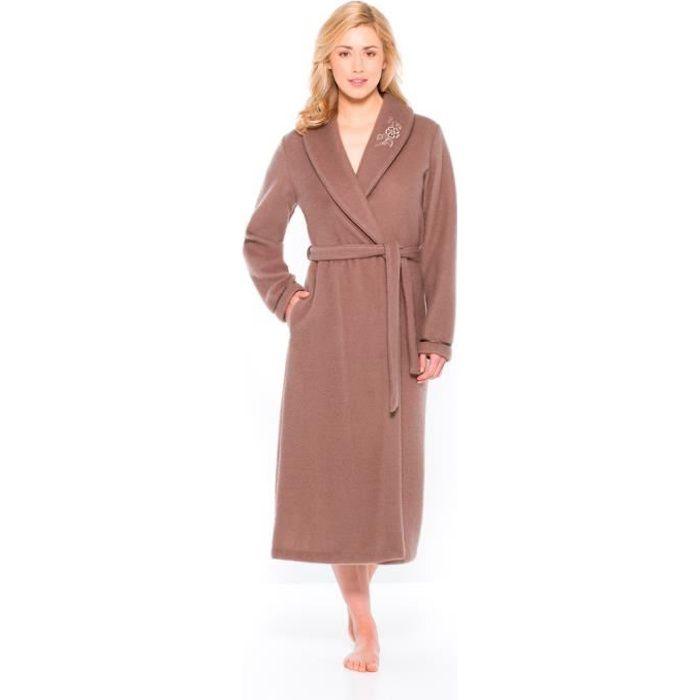 Robe de chambre en molleton courtelle col ch le achat vente robe de chambre soldes - Robe de chambre femme courtelle ...