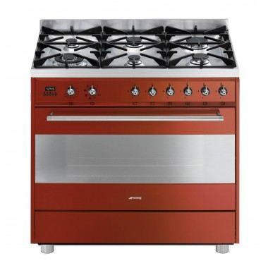 Piano de cuisson 90cm dessus gaz rouge smeg c9gmr1 achat vente cuisini re - Cuisiniere piano tout gaz ...