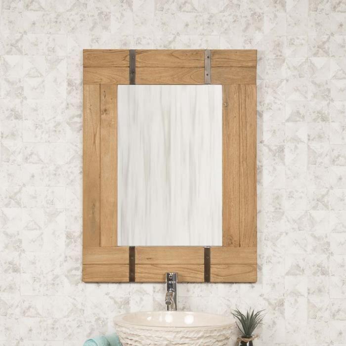 Miroir de salle de bain naturel loft 60x80 achat vente for Achat de miroir