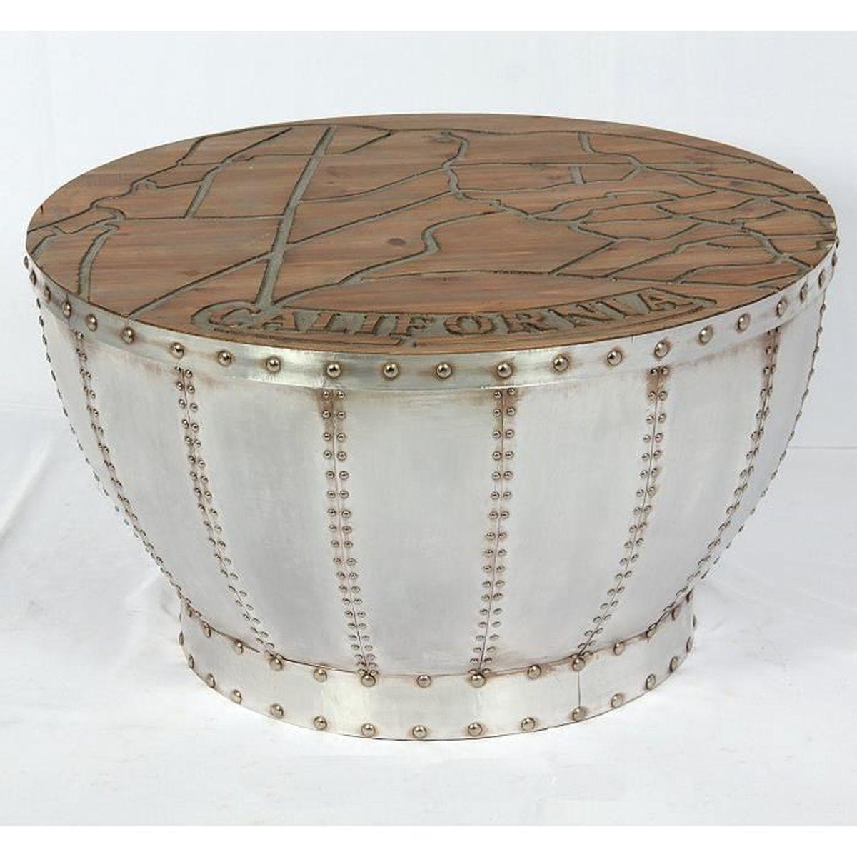 table de salon vintage ronde dans un design industriel us. Black Bedroom Furniture Sets. Home Design Ideas