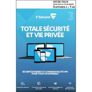 F-SECURE Totale Sécurité et Vie Privée - 3 appareils / 1 an - ATT